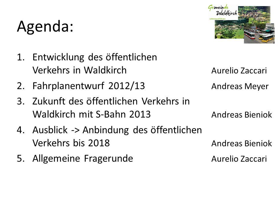 Agenda: 1.Entwicklung des öffentlichen Verkehrs in Waldkirch Aurelio Zaccari 2.Fahrplanentwurf 2012/13 Andreas Meyer 3.Zukunft des öffentlichen Verkeh