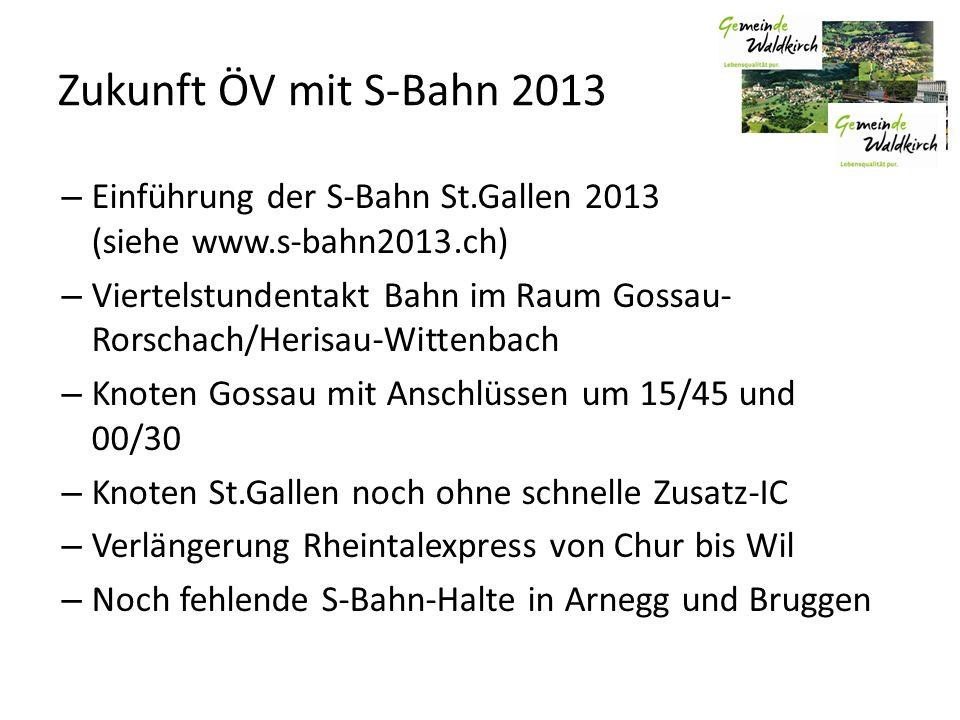 Zukunft ÖV mit S-Bahn 2013 – Einführung der S-Bahn St.Gallen 2013 (siehe www.s-bahn2013.ch) – Viertelstundentakt Bahn im Raum Gossau- Rorschach/Herisa