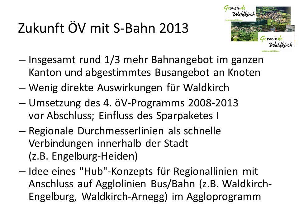 Zukunft ÖV mit S-Bahn 2013 – Insgesamt rund 1/3 mehr Bahnangebot im ganzen Kanton und abgestimmtes Busangebot an Knoten – Wenig direkte Auswirkungen für Waldkirch – Umsetzung des 4.