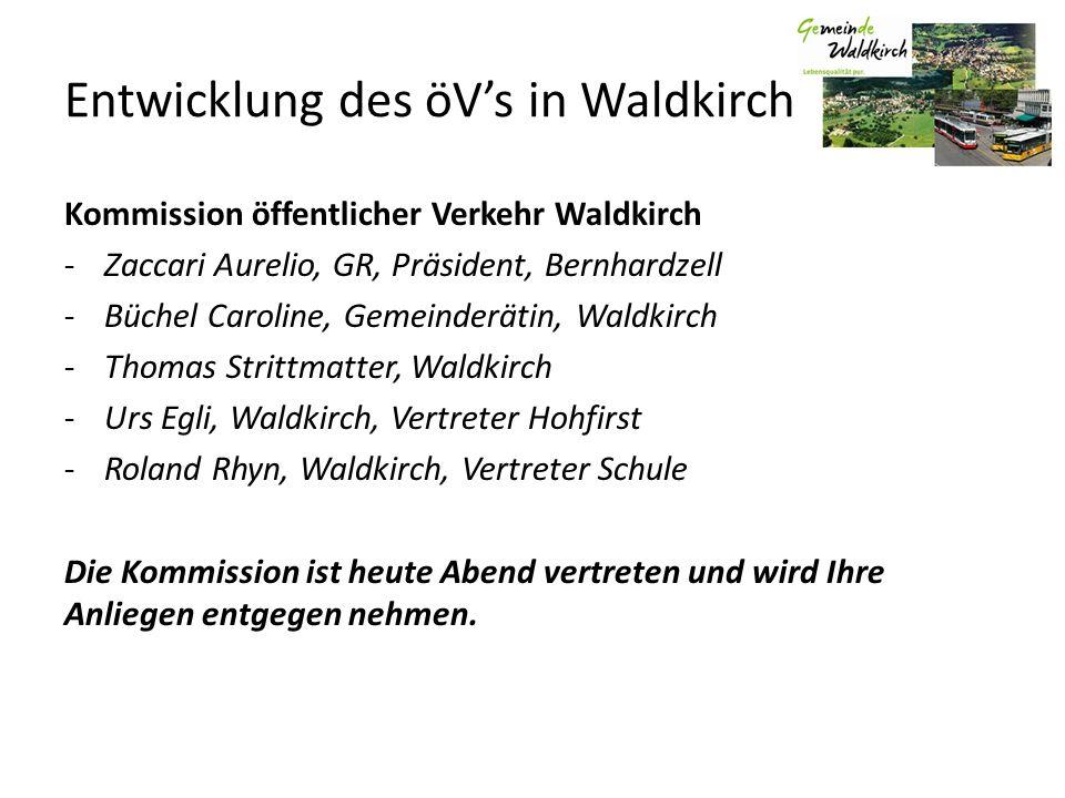 Entwicklung des öVs in Waldkirch Kommission öffentlicher Verkehr Waldkirch -Zaccari Aurelio, GR, Präsident, Bernhardzell -Büchel Caroline, Gemeinderät