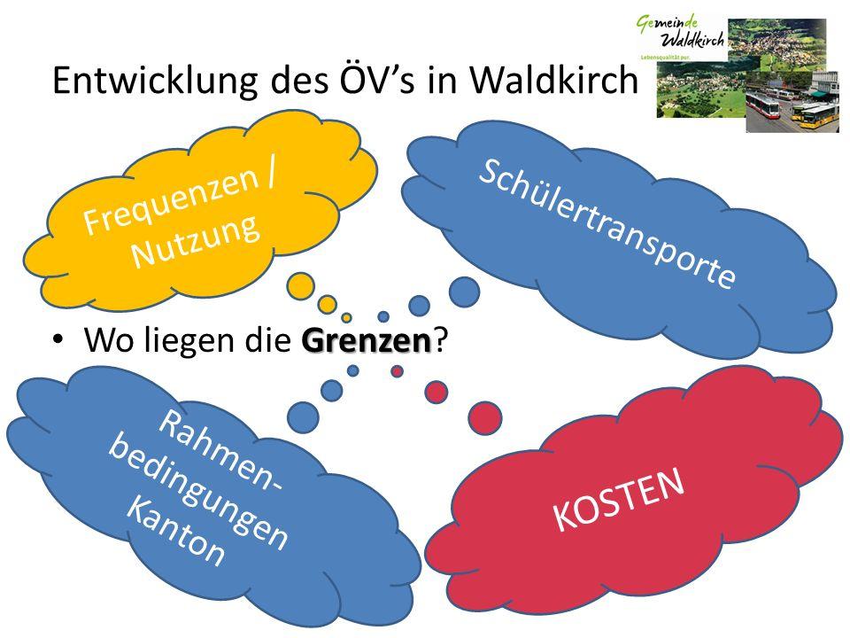 Entwicklung des ÖVs in Waldkirch Grenzen Wo liegen die Grenzen? Schülertransporte Rahmen- bedingungen Kanton KOSTEN Frequenzen / Nutzung
