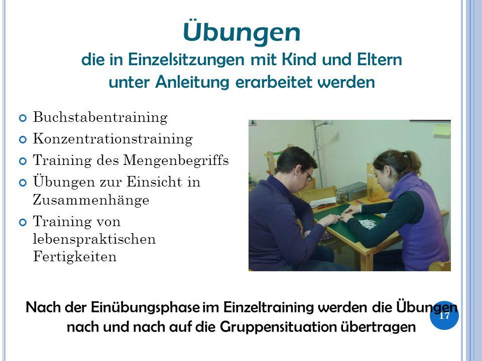 Buchstabentraining Konzentrationstraining Training des Mengenbegriffs Übungen zur Einsicht in Zusammenhänge Training von lebenspraktischen Fertigkeite