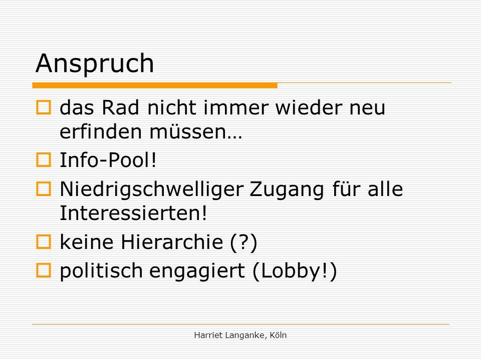 Harriet Langanke, Köln Wer ist das Netzwerk.