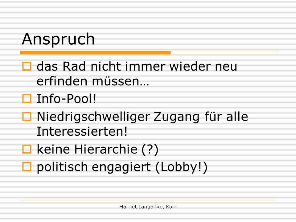 Harriet Langanke, Köln Adressen Regionale Knotenfrauen z.B.