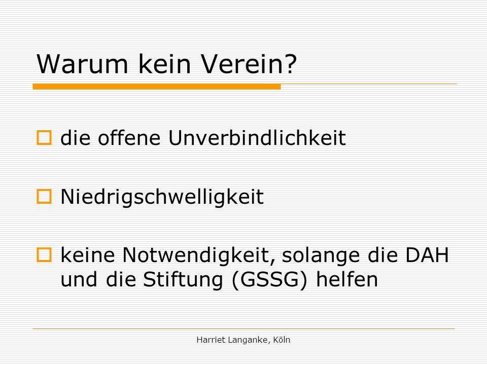 Harriet Langanke, Köln Warum kein Verein.