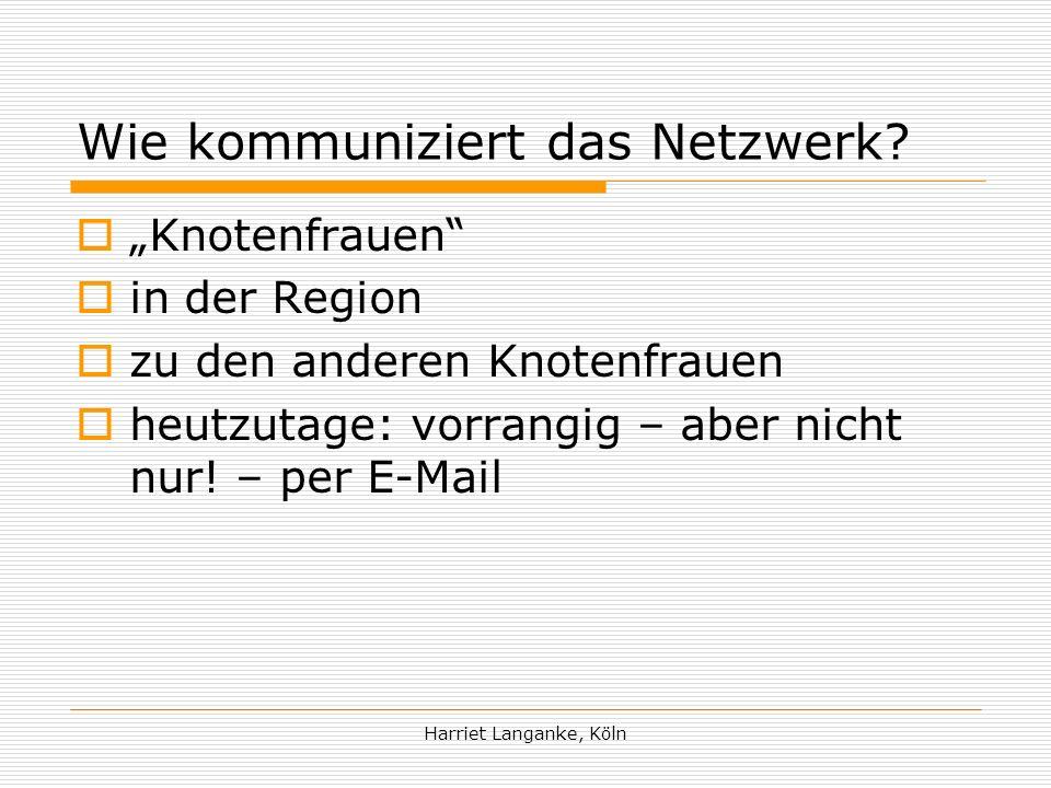Harriet Langanke, Köln Wie kommuniziert das Netzwerk.