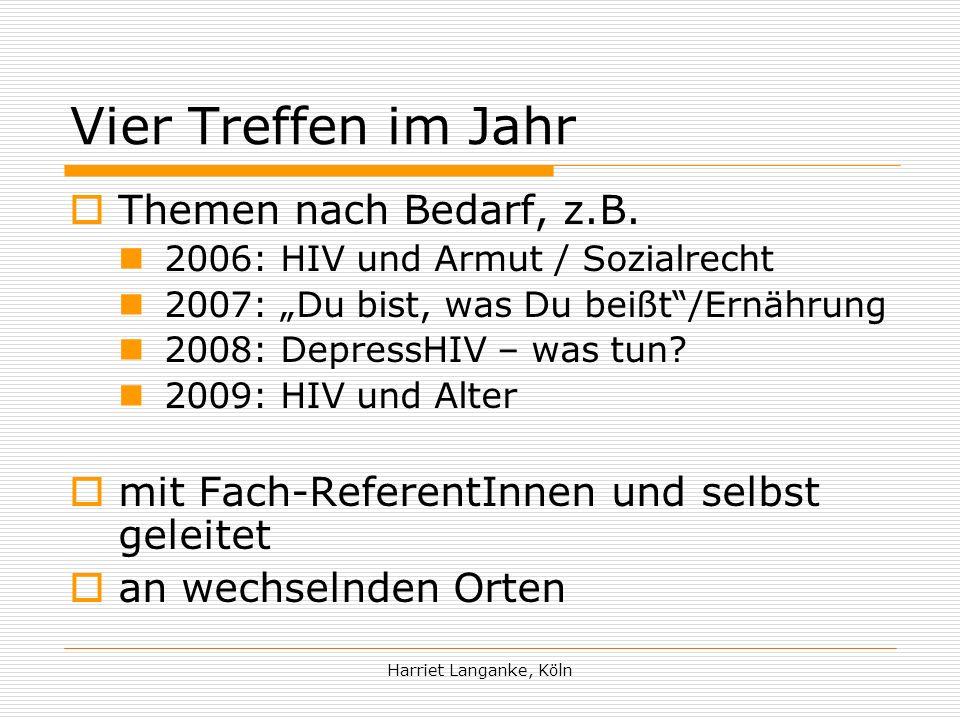 Harriet Langanke, Köln Projekte und Arbeitsgruppen Bundesarbeitsgemeinschaft Kinder im Umfeld von HIV und AIDS AG Lifeboat AG Lesben AG Drogen AG ICW…