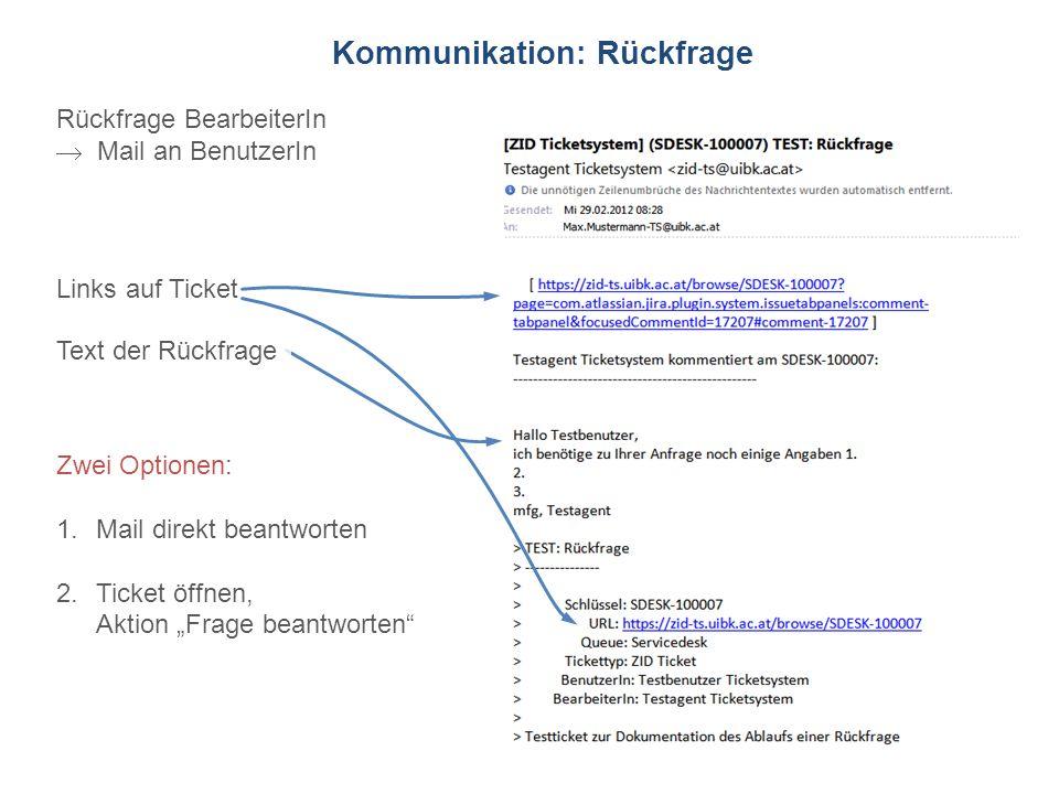 ZID Ticketsystem Kommunikation: Rückfrage Rückfrage BearbeiterIn Mail an BenutzerIn Links auf Ticket Text der Rückfrage Zwei Optionen: 1.Mail direkt b
