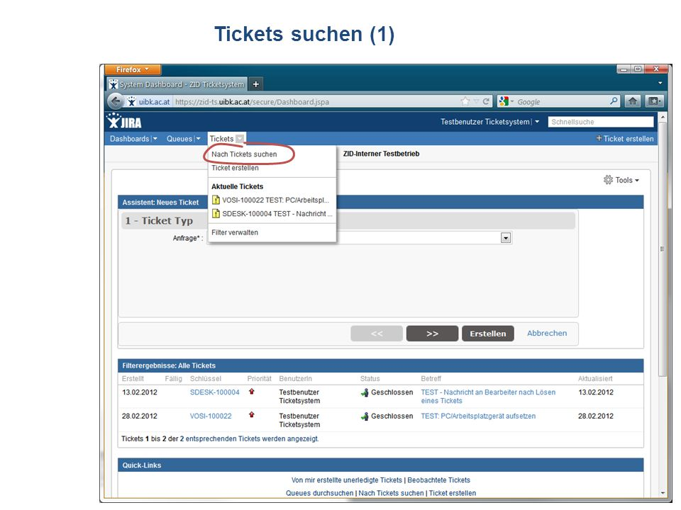 ZID Ticketsystem Tickets suchen (1)