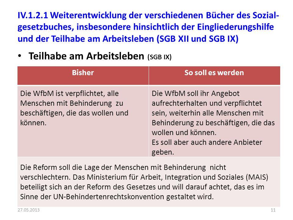 IV.1.2.1 Weiterentwicklung der verschiedenen Bücher des Sozial- gesetzbuches, insbesondere hinsichtlich der Eingliederungshilfe und der Teilhabe am Ar