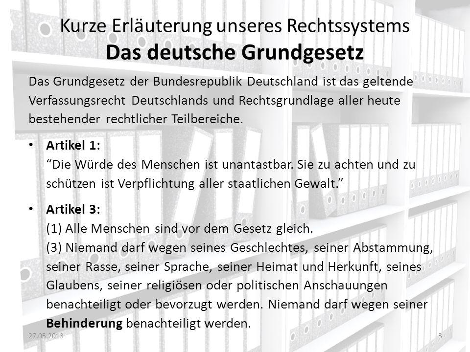 Kurze Erläuterung unseres Rechtssystems Das deutsche Grundgesetz Das Grundgesetz der Bundesrepublik Deutschland ist das geltende Verfassungsrecht Deut