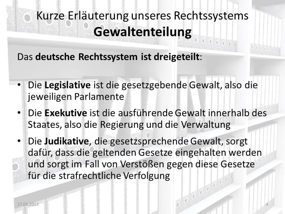 Kurze Erläuterung unseres Rechtssystems Gewaltenteilung Das deutsche Rechtssystem ist dreigeteilt: Die Legislative ist die gesetzgebende Gewalt, also