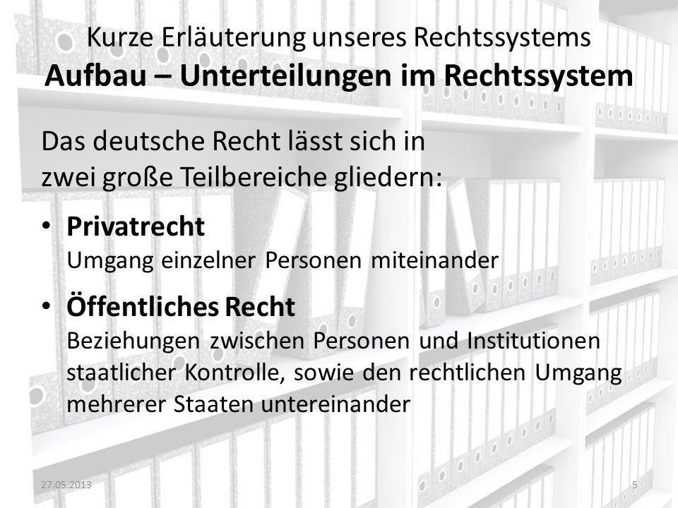 Kurze Erläuterung unseres Rechtssystems Aufbau – Unterteilungen im Rechtssystem Das deutsche Recht lässt sich in zwei große Teilbereiche gliedern: Pri