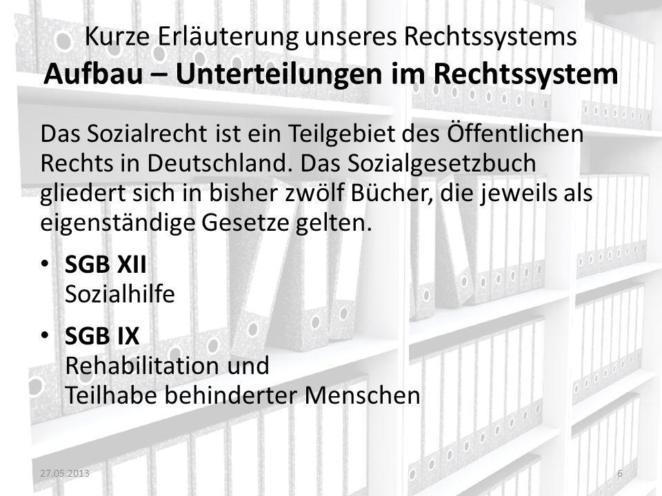 Kurze Erläuterung unseres Rechtssystems Aufbau – Unterteilungen im Rechtssystem Das Sozialrecht ist ein Teilgebiet des Öffentlichen Rechts in Deutschl