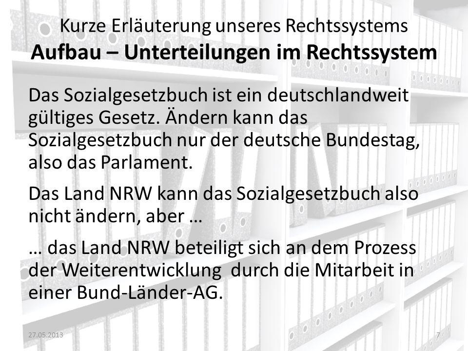Kurze Erläuterung unseres Rechtssystems Aufbau – Unterteilungen im Rechtssystem Das Sozialgesetzbuch ist ein deutschlandweit gültiges Gesetz. Ändern k