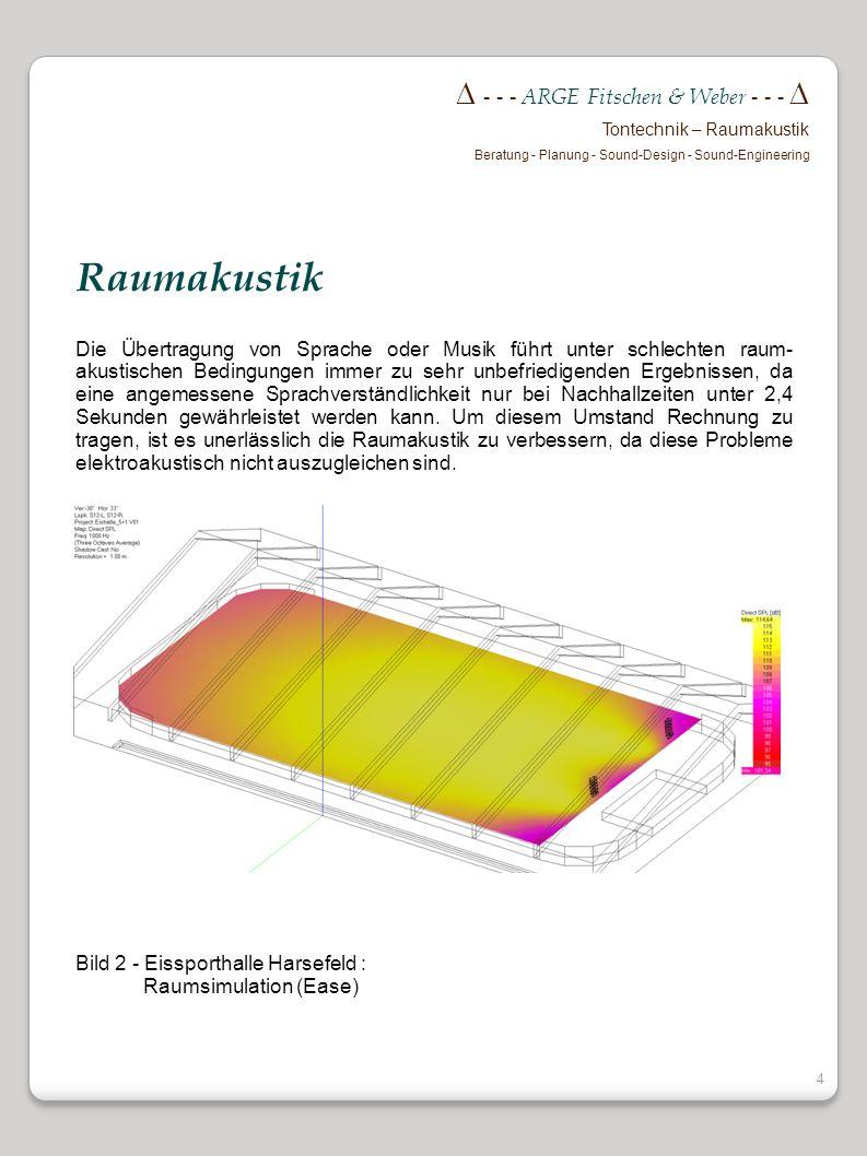 3 - - - ARGE Fitschen & Weber - - - Tontechnik – Raumakustik Beratung - Planung - Sound-Design - Sound-Engineering Die Installation einer noch so hoch