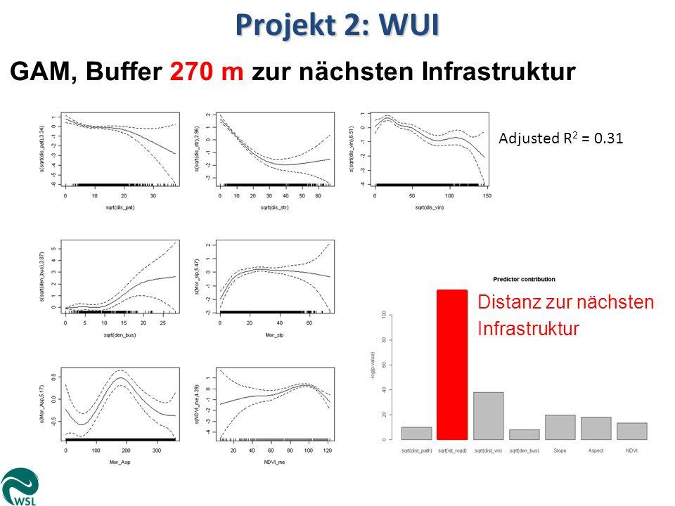 Adjusted R 2 = 0.31 Projekt 2: WUI GAM, Buffer 270 m zur nächsten Infrastruktur Distanz zur nächsten Infrastruktur