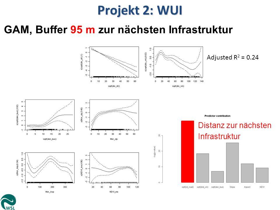 Adjusted R 2 = 0.24 Projekt 2: WUI GAM, Buffer 95 m zur nächsten Infrastruktur Distanz zur nächsten Infrastruktur