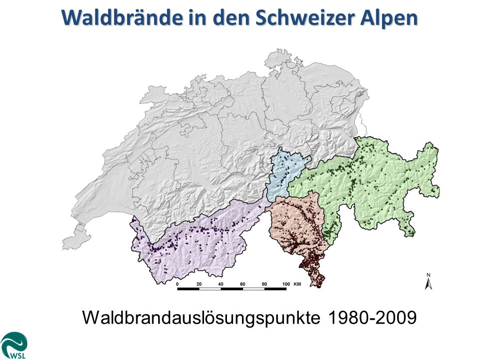 Waldbrände in den Schweizer Alpen Waldbrandauslösungspunkte 1980-2009