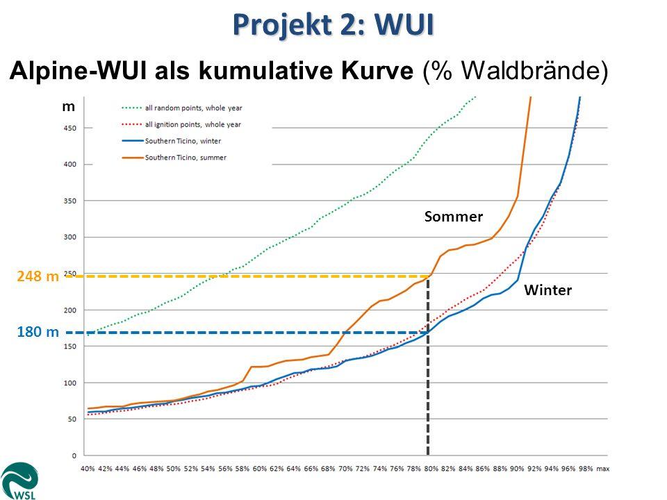 Projekt 2: WUI Alpine-WUI als kumulative Kurve (% Waldbrände) 180 m m 248 m Winter Sommer
