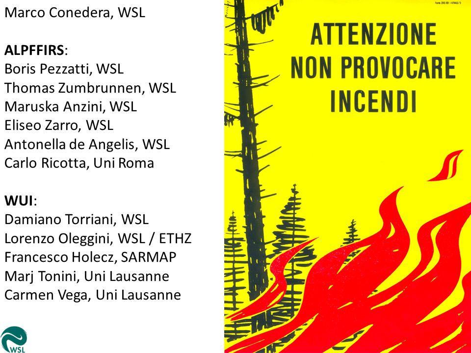 Marco Conedera, WSL ALPFFIRS: Boris Pezzatti, WSL Thomas Zumbrunnen, WSL Maruska Anzini, WSL Eliseo Zarro, WSL Antonella de Angelis, WSL Carlo Ricotta