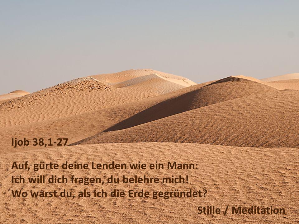 Ijob 38,1-27 Auf, gürte deine Lenden wie ein Mann: Ich will dich fragen, du belehre mich! Wo warst du, als ich die Erde gegründet? Stille / Meditation