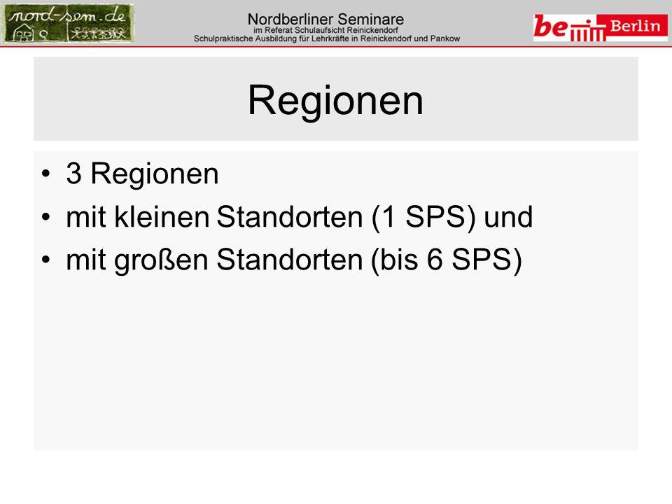 Regionen 3 Regionen mit kleinen Standorten (1 SPS) und mit großen Standorten (bis 6 SPS)