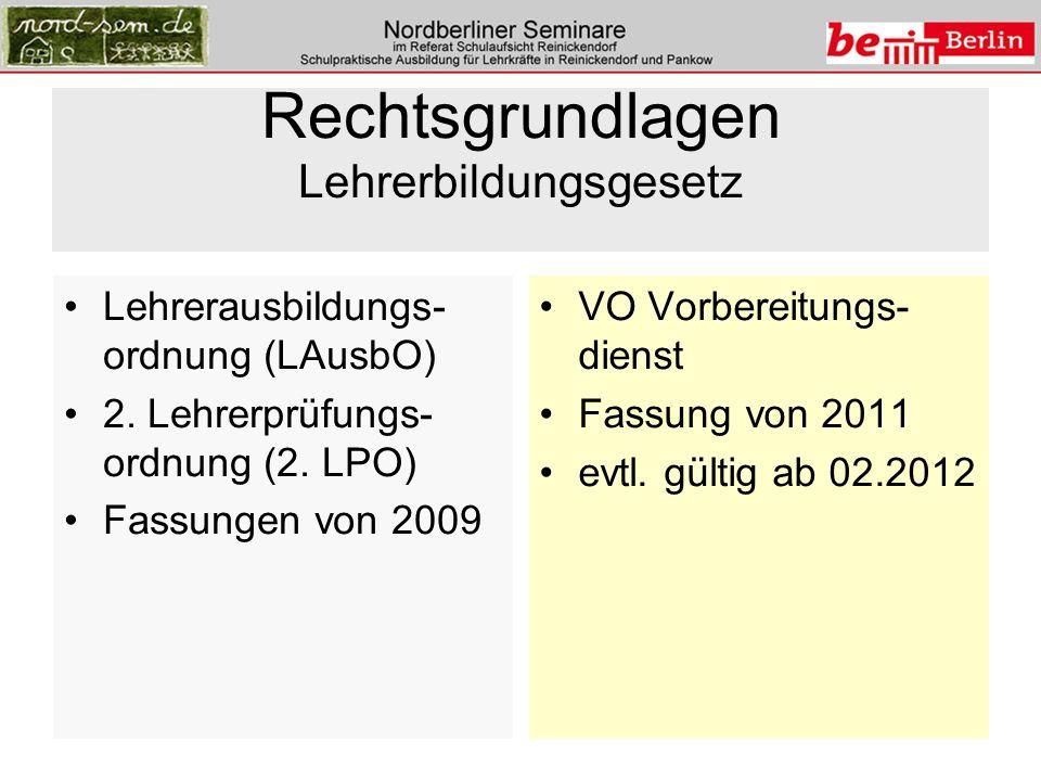Rechtsgrundlagen Lehrerbildungsgesetz Lehrerausbildungs- ordnung (LAusbO) 2. Lehrerprüfungs- ordnung (2. LPO) Fassungen von 2009 VO Vorbereitungs- die