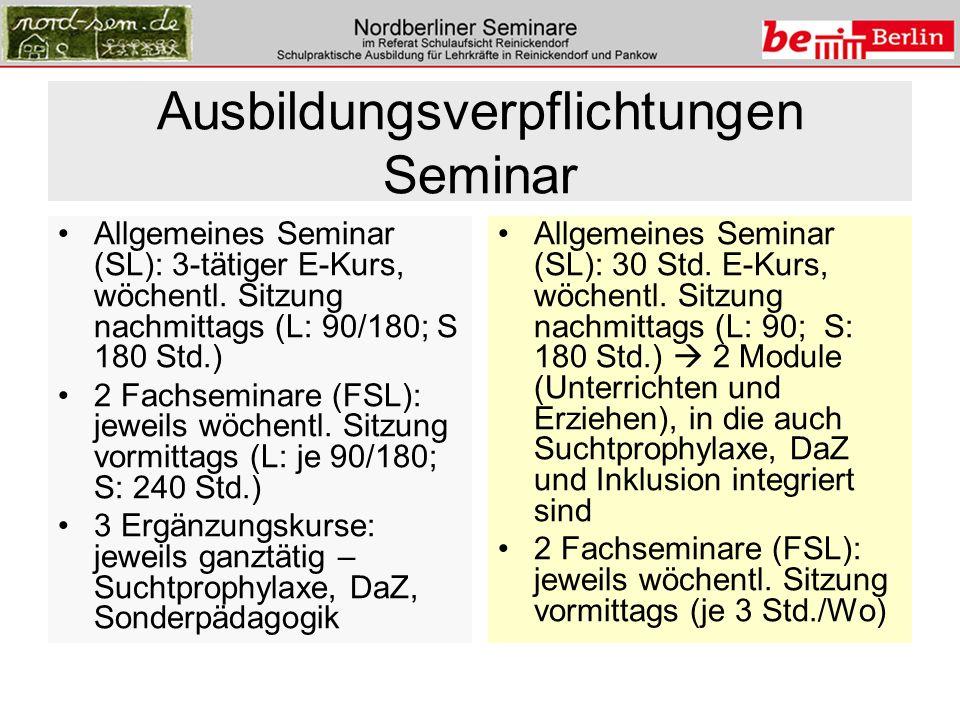 Ausbildungsverpflichtungen Seminar Allgemeines Seminar (SL): 3-tätiger E-Kurs, wöchentl. Sitzung nachmittags (L: 90/180; S 180 Std.) 2 Fachseminare (F