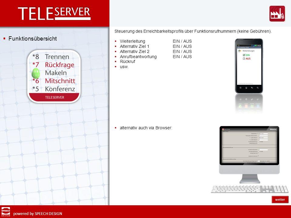 powered by SPEECH DESIGN Funktionsübersicht Steuerung des Erreichbarkeitsprofils über Funktionsrufnummern (keine Gebühren). Weiterleitung EIN / AUS Al