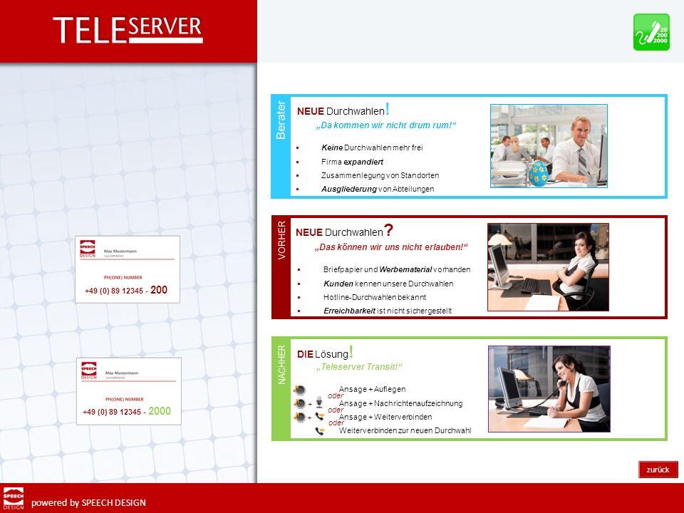 powered by SPEECH DESIGN zurück DIE Lösung ! Teleserver Transit! Ansage + Auflegen Ansage + Nachrichtenaufzeichnung Ansage + Weiterverbinden Weiterver