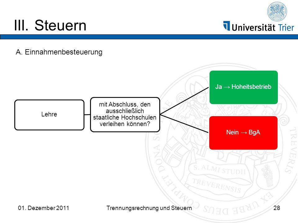 III.Steuern 01. Dezember 2011Trennungsrechnung und Steuern28 A.