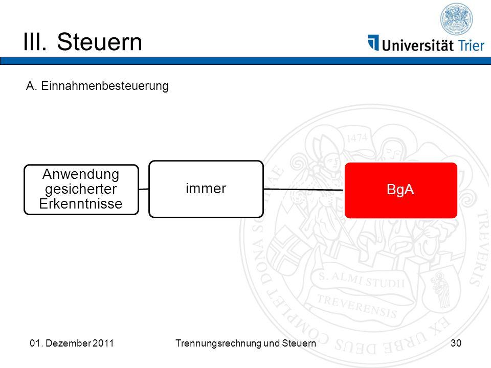 III.Steuern 01. Dezember 2011Trennungsrechnung und Steuern30 A.