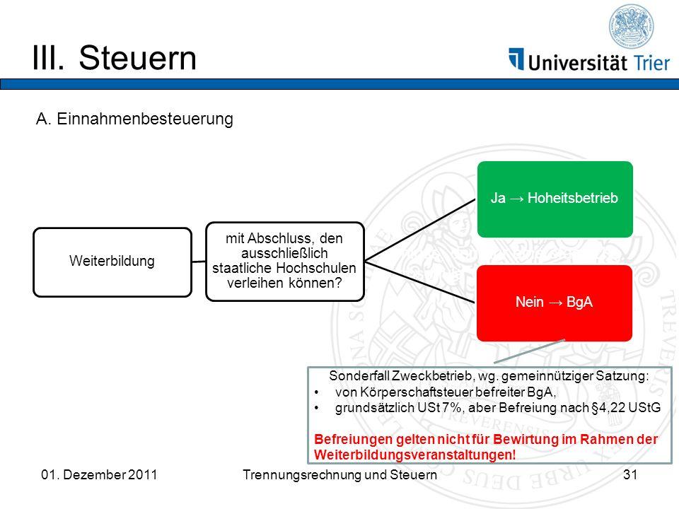 III.Steuern 01. Dezember 2011Trennungsrechnung und Steuern31 A.