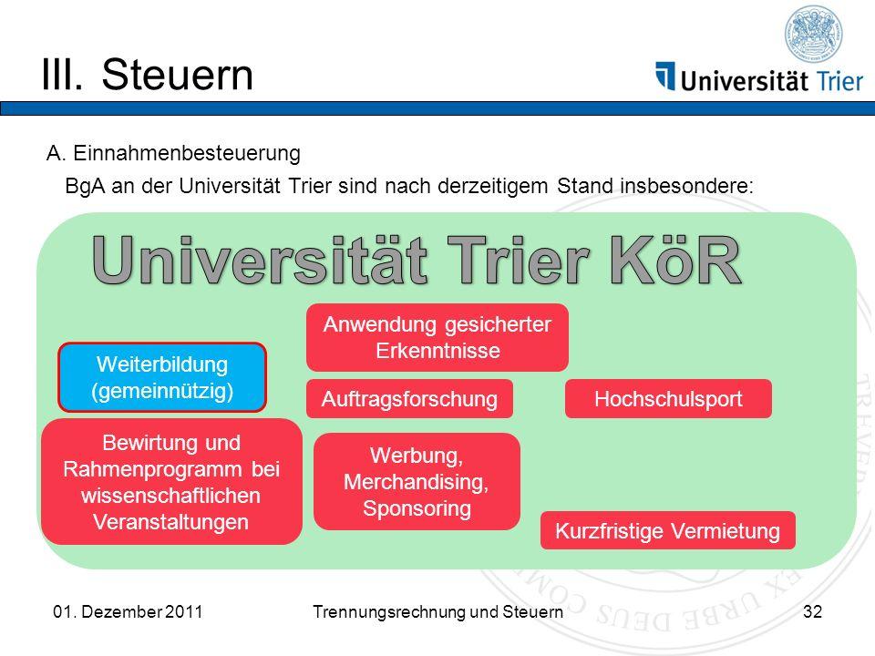 III.Steuern 01. Dezember 2011Trennungsrechnung und Steuern32 A.