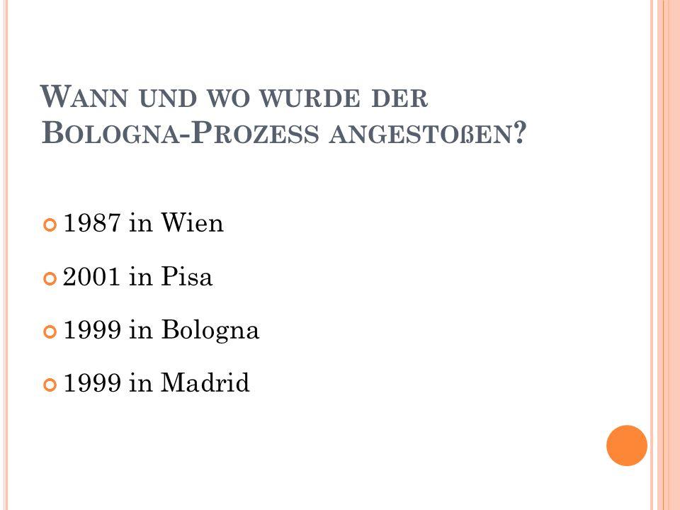 W ANN UND WO WURDE DER B OLOGNA -P ROZESS ANGESTOßEN .