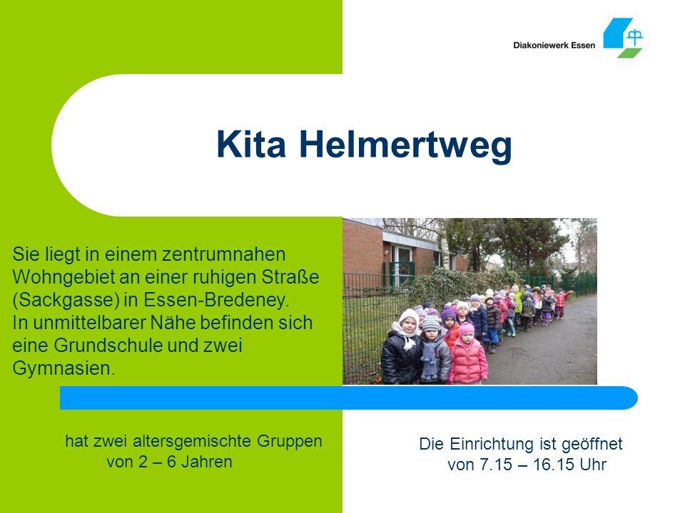 Kita Helmertweg Die Einrichtung ist geöffnet von 7.15 – 16.15 Uhr hat zwei altersgemischte Gruppen von 2 – 6 Jahren Sie liegt in einem zentrumnahen Wohngebiet an einer ruhigen Straße (Sackgasse) in Essen-Bredeney.
