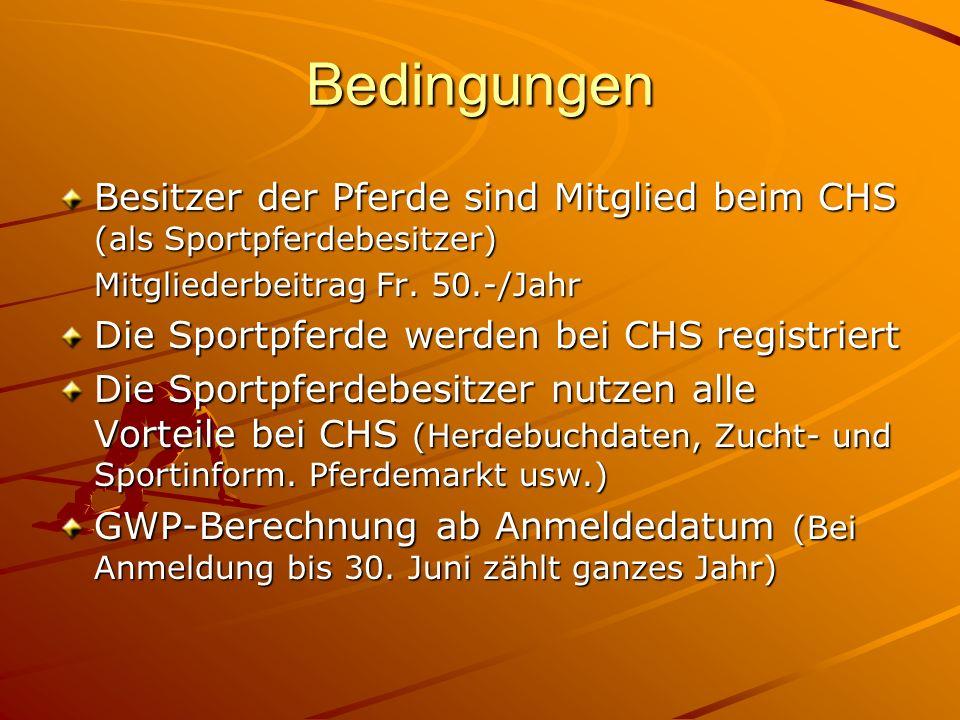 Bedingungen Besitzer der Pferde sind Mitglied beim CHS (als Sportpferdebesitzer) Mitgliederbeitrag Fr.