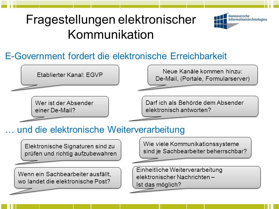 Fragestellungen elektronischer Kommunikation E-Government fordert die elektronische Erreichbarkeit Etablierter Kanal: EGVP Neue Kanäle kommen hinzu: D