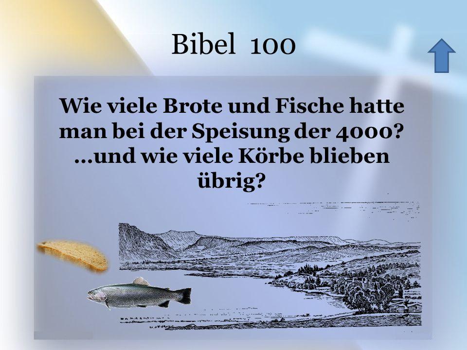 Bibel 100 Wie viele Brote und Fische hatte man bei der Speisung der 4000? …und wie viele Körbe blieben übrig?
