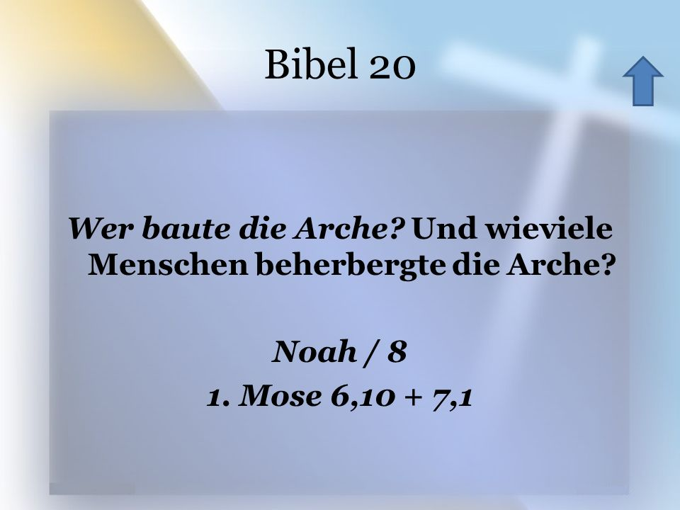 Bibel 20 Wer baute die Arche? Und wieviele Menschen beherbergte die Arche? Noah / 8 1. Mose 6,10 + 7,1