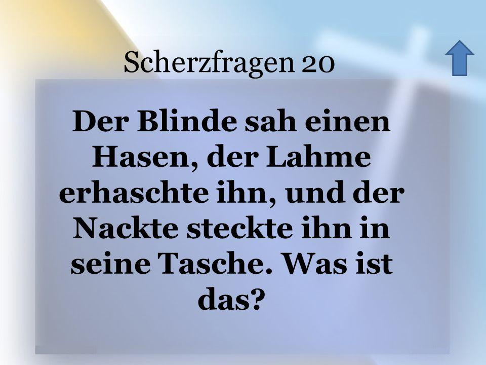 Scherzfragen 20 Der Blinde sah einen Hasen, der Lahme erhaschte ihn, und der Nackte steckte ihn in seine Tasche. Was ist das?