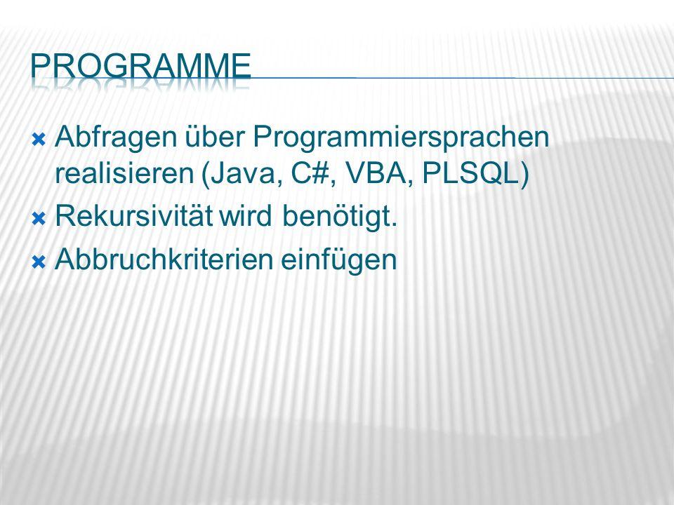 Abfragen über Programmiersprachen realisieren (Java, C#, VBA, PLSQL) Rekursivität wird benötigt. Abbruchkriterien einfügen