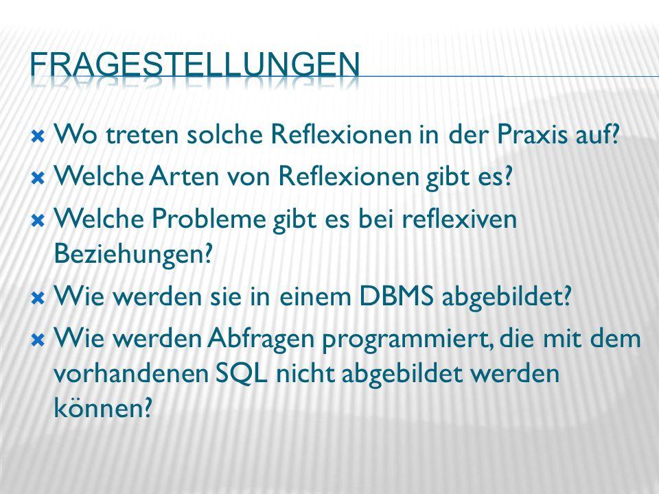 WITH n AS(SELECT ma1.name, ma2.name chef FROM Ma ma1, Ma ma2 WHERE ma1.vorgesetzter=ma2.id) SELECT name, chef FROM n ORDER BY chef; NAME CHEF -------- Beier Albrecht Fischer Beier Dietz Beier Engel Beier Holz Conrad Gierke Conrad Ingold Engel Lorenz Kurz Albrecht Kurz Conrad Lorenz