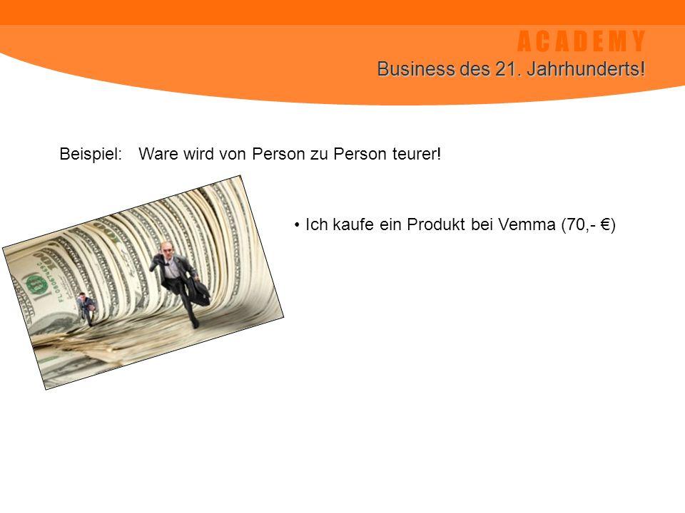 A C A D E M Y Business des 21. Jahrhunderts! Beispiel: Ware wird von Person zu Person teurer! Ich kaufe ein Produkt bei Vemma (70,- )