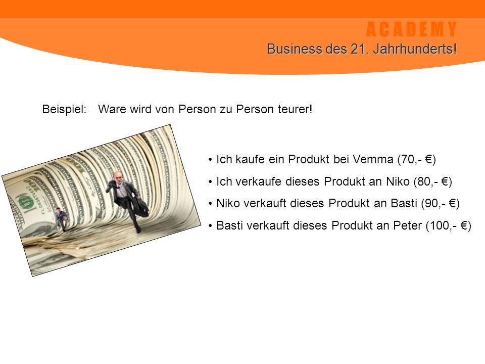 A C A D E M Y Business des 21. Jahrhunderts! Beispiel: Ware wird von Person zu Person teurer! Ich kaufe ein Produkt bei Vemma (70,- ) Ich verkaufe die