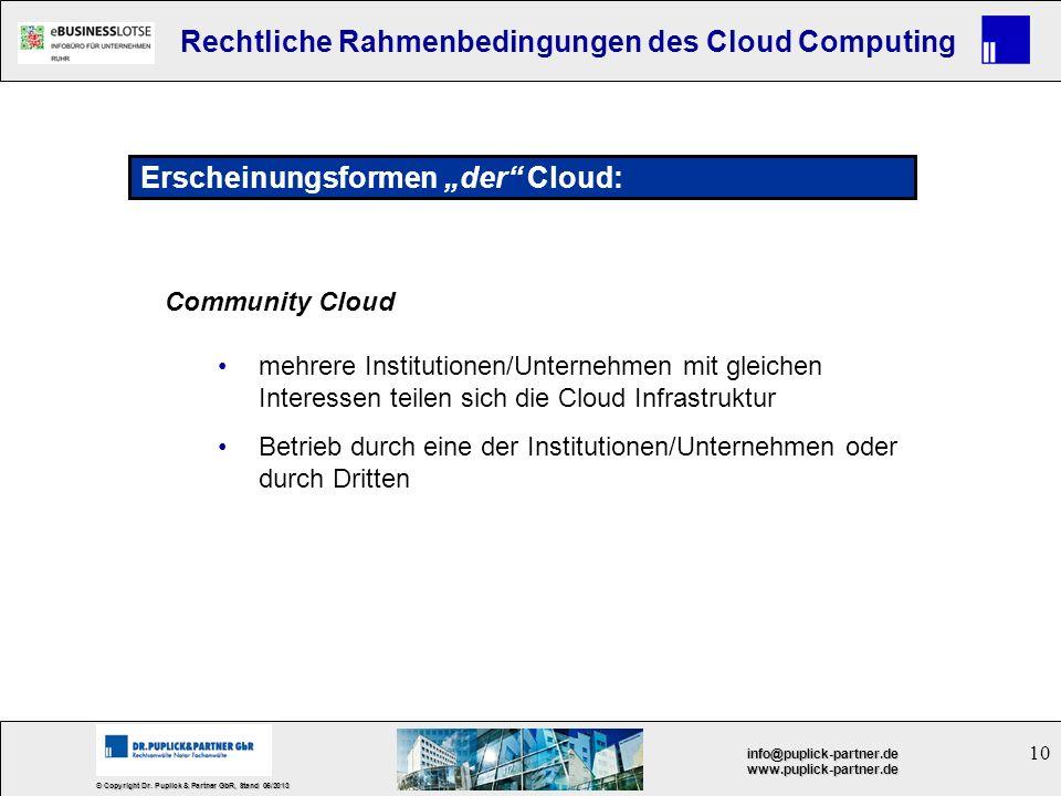 10 © Copyright Dr. Puplick & Partner GbR, Stand 05/2013 info@puplick-partner.dewww.puplick-partner.de Rechtliche Rahmenbedingungen des Cloud Computing