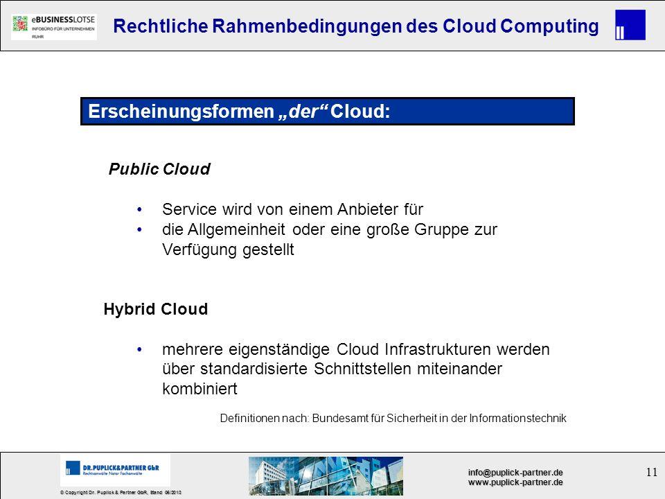 11 © Copyright Dr. Puplick & Partner GbR, Stand 05/2013 info@puplick-partner.dewww.puplick-partner.de Rechtliche Rahmenbedingungen des Cloud Computing