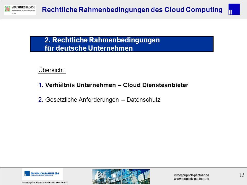 13 © Copyright Dr. Puplick & Partner GbR, Stand 05/2013 info@puplick-partner.dewww.puplick-partner.de Rechtliche Rahmenbedingungen des Cloud Computing