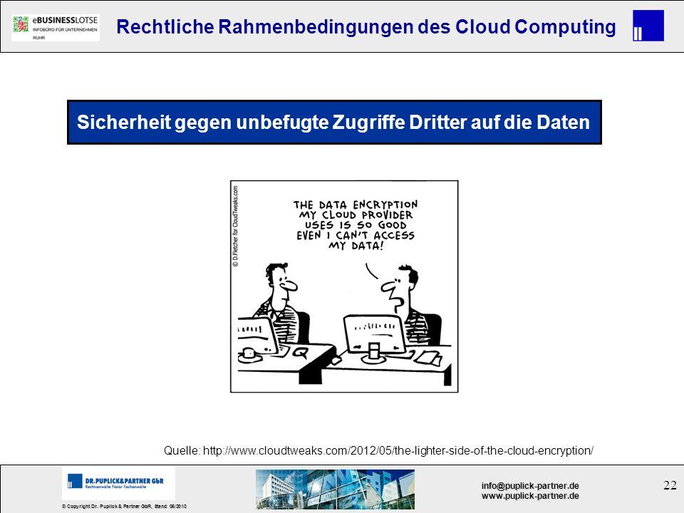 22 © Copyright Dr. Puplick & Partner GbR, Stand 05/2013 info@puplick-partner.dewww.puplick-partner.de Rechtliche Rahmenbedingungen des Cloud Computing